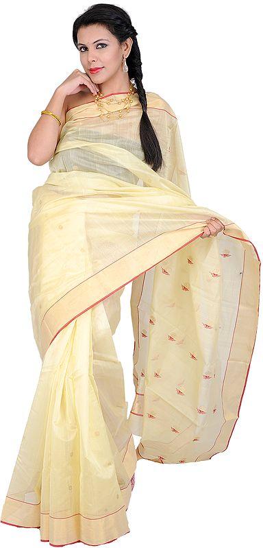 French-Vanilla Chanderi Sari with Zari Bootis on Aanchal and Golden Border