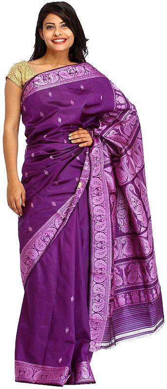 Petunia-Purple Baluchari Sari from Kolkata with Woven Bootis and Paisleys on Aanchal