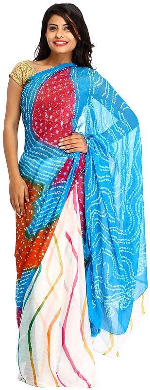 Multicolor Bandhani Marwari Sari from Jodhpur with Leharia Print