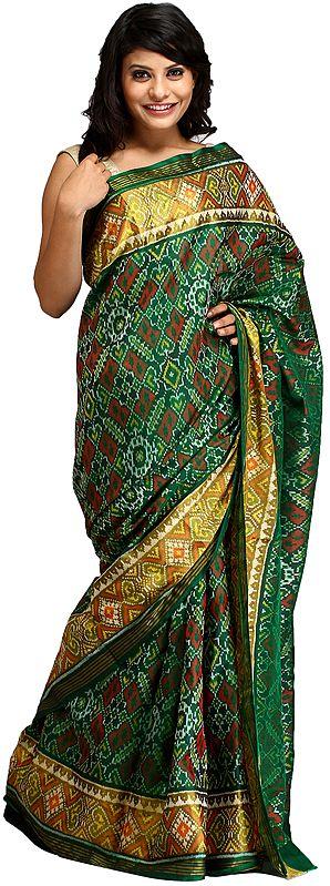 Foliage-Green Paan Patola Handloom Sari from Patan with Ikat Weave
