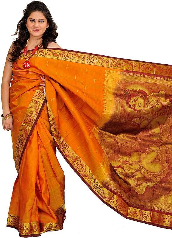 Nugget and Maroon Kanjivaram Sari from Bangalore with Woven Little Krishna on Aanchal