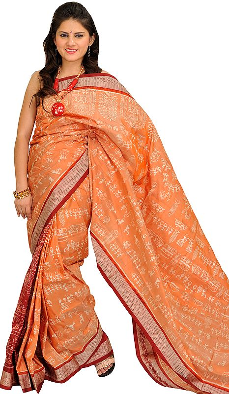 Coral-Sand and Maroon Bomkai Sari from Orissa with Woven Warli folk Motifs All-Over