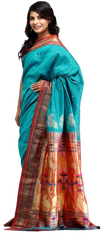 Viridian-Green Paithani Sari with Hand-woven Peacocks on Pallu