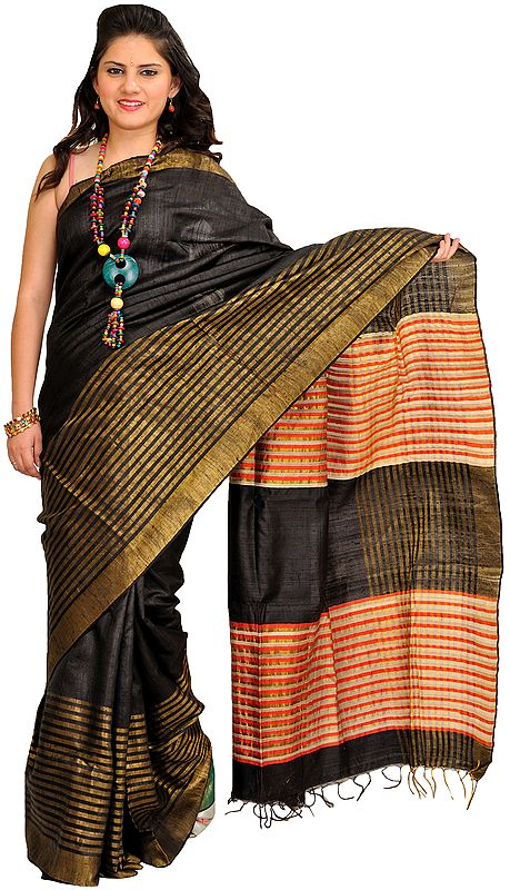 Jet-Black Sari from Bengal with Zari-Woven Stripes