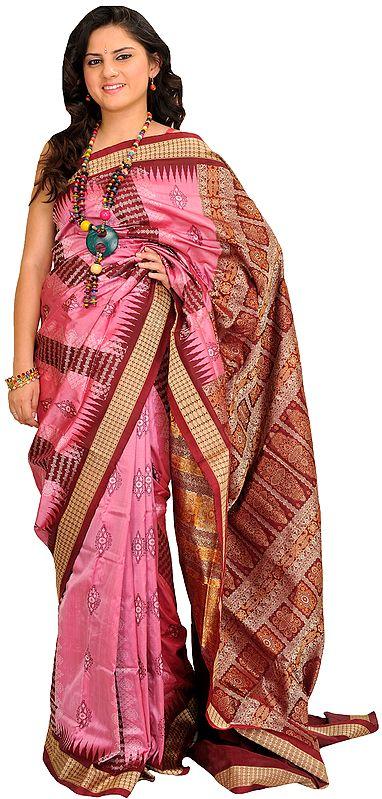 Pink and Maroon Bomkai Sari from Orissa with Woven Motifs and Rudraksha Border