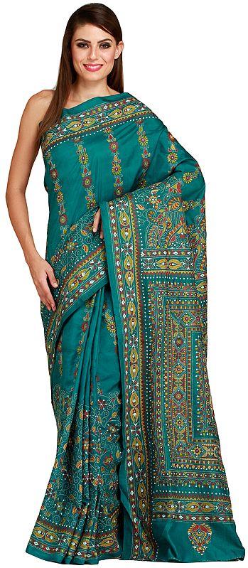 Parasailing-Green Kantha Sari from Kolkata with Dense Floral Embroidery By Hand