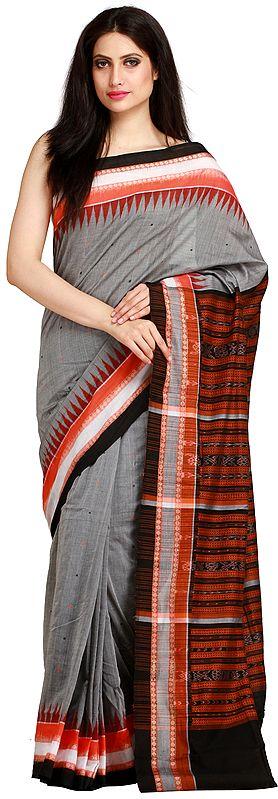 Frost-Gray Ikat Handloom Sari from Sambhalpur with Temple Border and Woven Rudraksha on Pallu