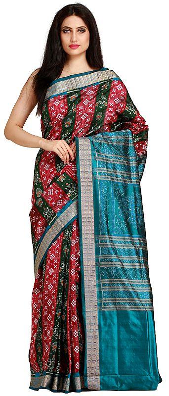 Sangria-Red and Green Sambhalpuri Handloom Sari from Orissa with Ikat Weave