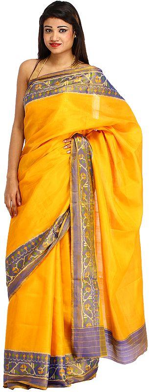 Citrus-Yellow Plain Patan Patola Sari from Gujarat with Ikat Weave on Border