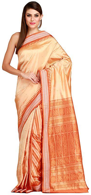 Desert-Dust Handloom Sari from Orissa with Bomkai Weave
