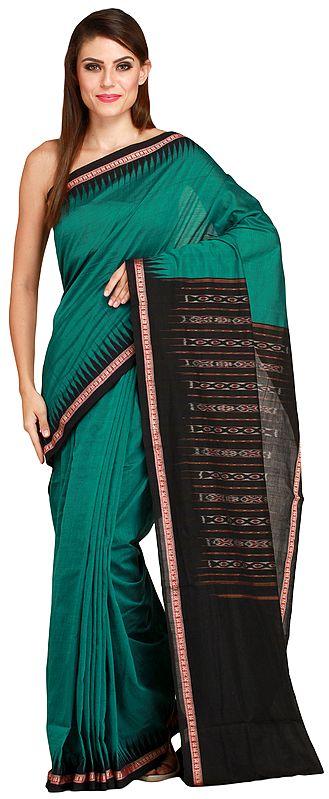 Green and Black Handloom Sari from Sambhalpur with Temple Border and Ikat Weave on Pallu