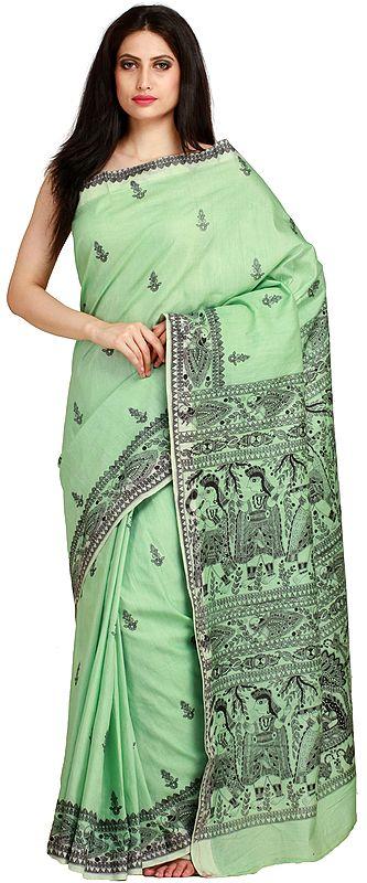 Pastel-Green Sari from Bengal with Printed Madhubani Folk Motifs