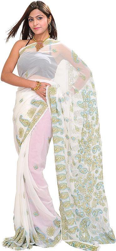 Bright-white Lukhnavi Chikan Sari with Embroidered Paisleys by Hand