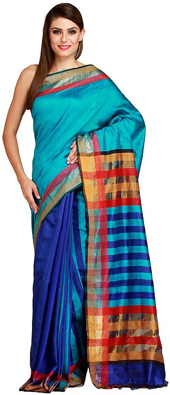 Caribbean-Sea and Blue Kosa Sari from Bengal with Woven Stripes on Pallu