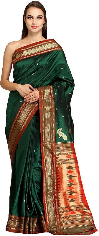 Verdant-Green Paithani Sari with Zari-woven Border and Hand-woven Peacocks on Pallu