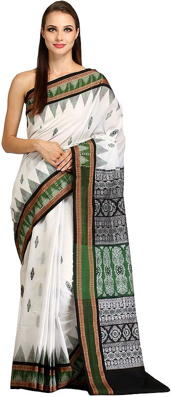 White and Green Handloom Sari from Sambhalpur with Ikat Temple Border and Floral Motifs on Pallu