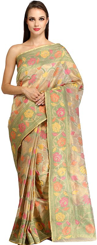 Wedding Tissue Sari from Banaras with All-Over Woven Flowers