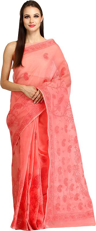 Candlelight-Peach Sari from Lucknow with Chikan Hand-Embroidered Paisleys
