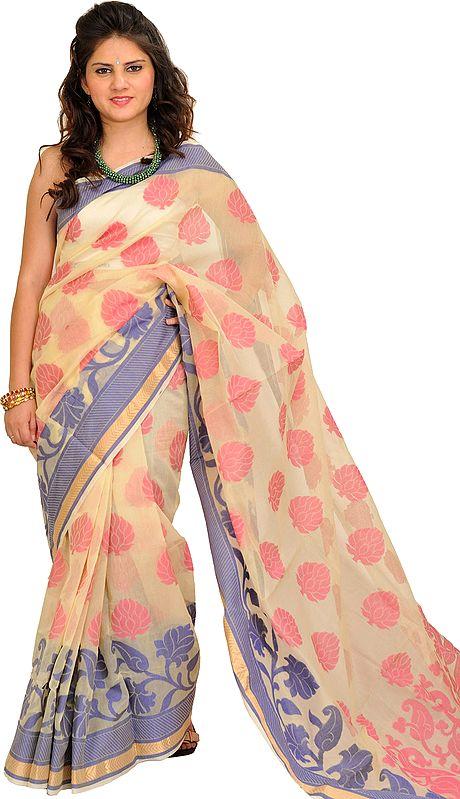 Cream Banarasi Sari with Woven Large Bootis and Paisleys on Pallu