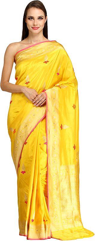 Aspen-Gold Banarasi Sari with Woven Bootis and Brocaded Pallu