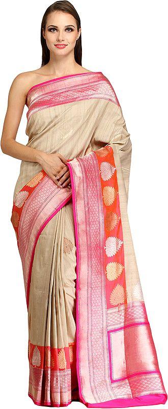 Sandshell and Pink Sari from Banaras with Zari-Woven Trees on Border and Brocaded Pallu