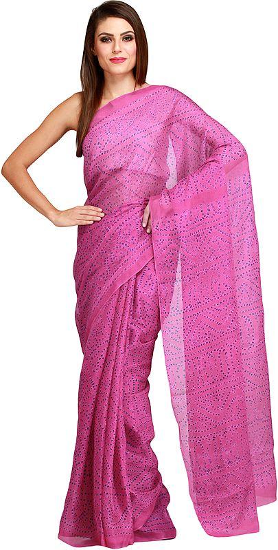 Rose-Violet Bandhani Tie-Dye Marwari Sari from Jodhpur