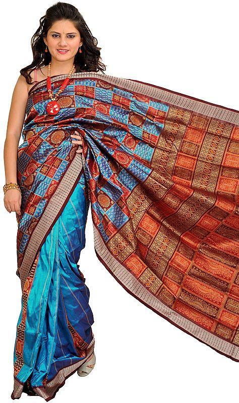 Methyl-Blue Bomkai Handloom Sari from Orissa with Woven Motifs