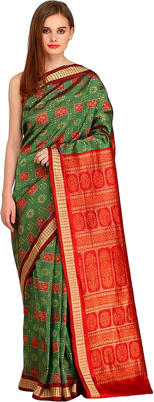 Green and Red Bomkai Handloom Sari from Orissa with Woven Floral Motifs