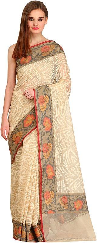 Cream Self-Weave Net Sari from Banaras with Hand-Woven Flowers on Border
