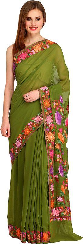Epsom-Green Kashmiri Sari with Ari Floral-Embroidery
