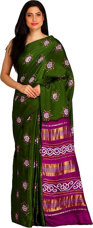 Green and Purple Bandhani Tie-Dye Sari from Jodhpur with Zari-Weave on Pallu