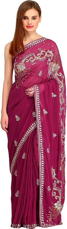 Violet-Quartz Designer Wedding Sari with Embroidered-Beads and Stone-work