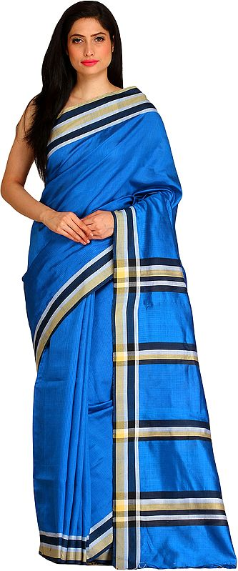 Imperial-Blue Plain Sari from Bengal with Woven Stripes