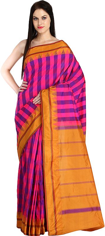Pink and Nugget Sari from Bangalore with Woven Checks and Striped Pallu