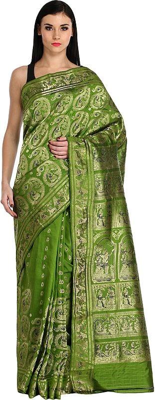 Peridot-Green Baluchari Sari from Bengal Depicting Mythological Episodes from Mahabharata