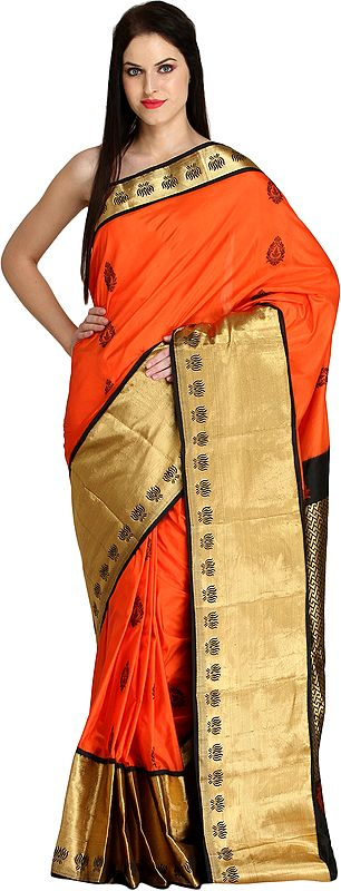 Mandarin-Orange Wedding Sari from Bangalore with Wide Lotus Border and Brocade-Weave