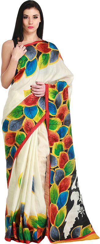 Rabindranath Tagore Sari from Kolkata with Painted Leaves