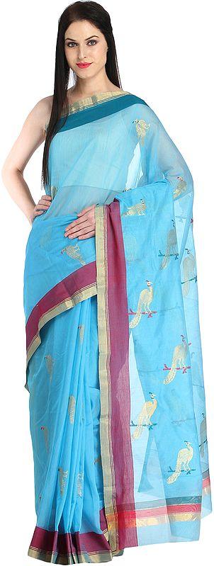 Aquarius-Blue Handloom Chanderi Sari with Golden Woven Peacocks
