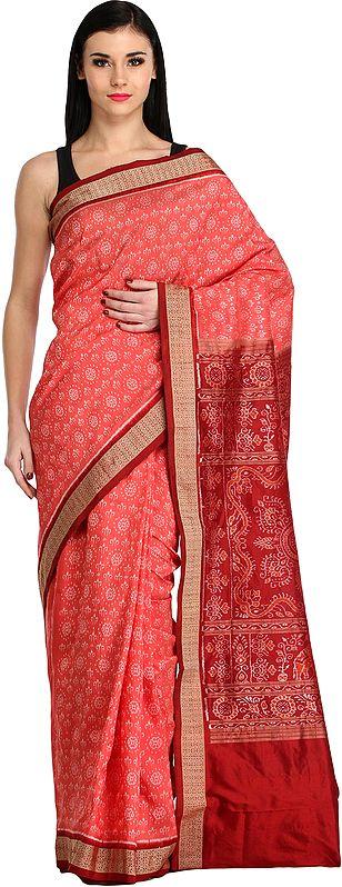 Spiced-Coral and Maroon Sambhalpuri Handloom Sari from Orissa with Ikat Weave