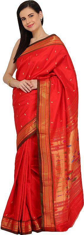 Poppy-Red Paithani Sari with Hand-Woven Peacocks on Pallu