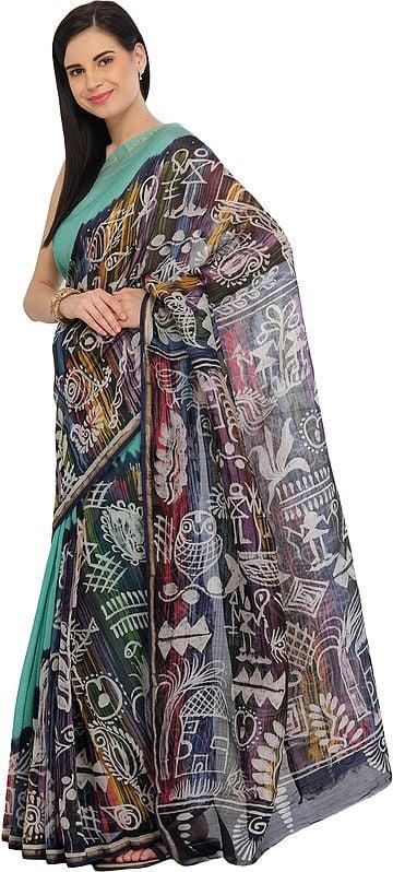 Blue-Turquoise Batik Printed Sari from Madhya Pradesh with Warli Folk Motifs