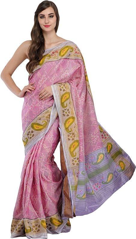 Mauve-Mist Ikat Handloom Paan-Patola Sari from Gujarat with Woven Paisleys