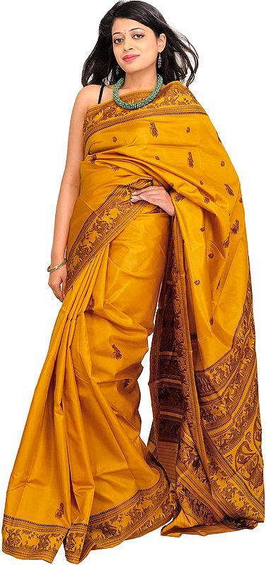 Honey-Gold Baluchari Sari from Kolkata Depicting Hindu Mythological Episodes