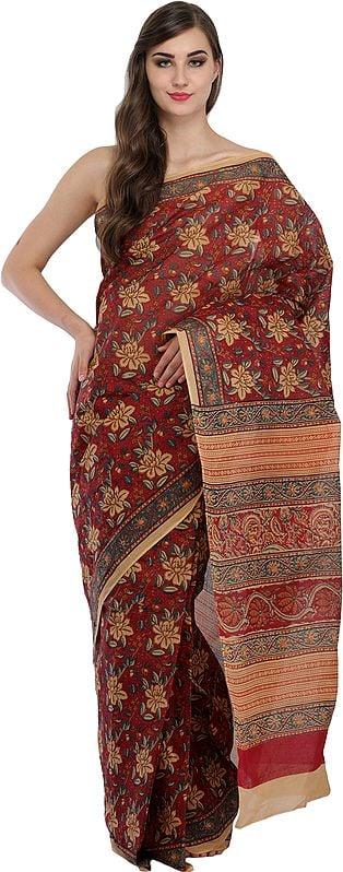 Brick-Red Kalamkari Sari from Andhra Pradesh with Printed Flowers