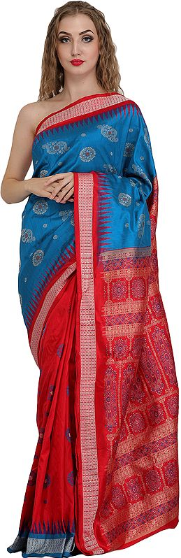 Blue and Red Bomkai Handloom Sari from Orissa with Woven Temple Border and Chakra Bootis