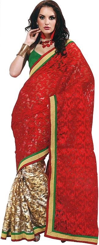 Red and Beige Sari with Woven Flowers in Self and Patch Border