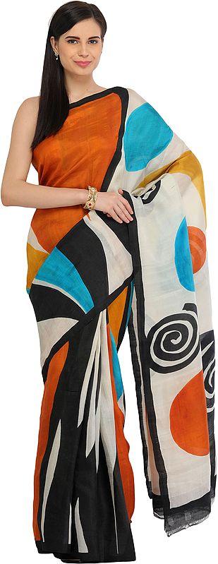 Multicolored Sari from Kolkata with Modern Print