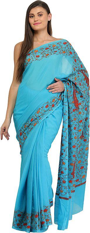 Batton-Blue Kashmiri Sari with Needle Hand-Embroidered Lotuses