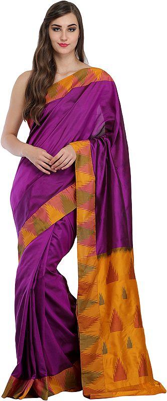 Hyacinth-Violet Plain Sari from Karnataka with Temple Woven Border