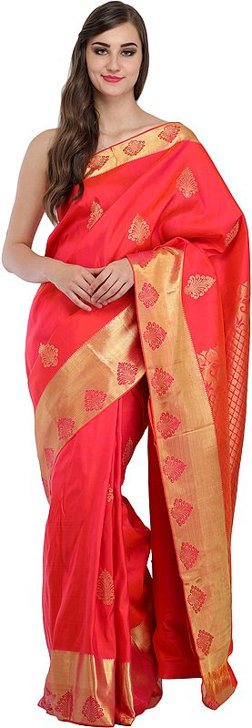 Paradise-Pink Sari from Bangalore with Wide Golden Border and Brocade-Weave